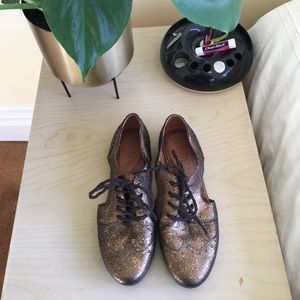 Naya Bronze Leather Lave-up Wingtip Oxford Cutouts